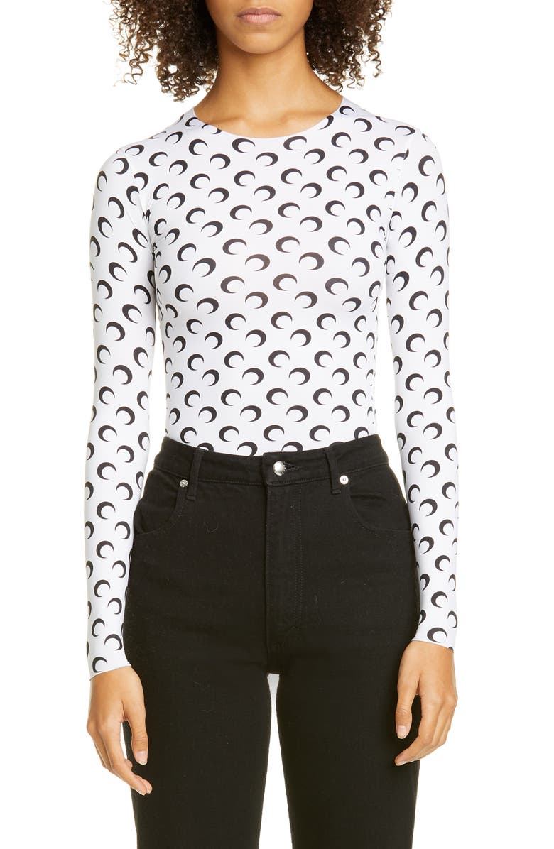 MARINE SERRE Fitted Moon Print Top, Main, color, WHITE WITH BLACK PRINT
