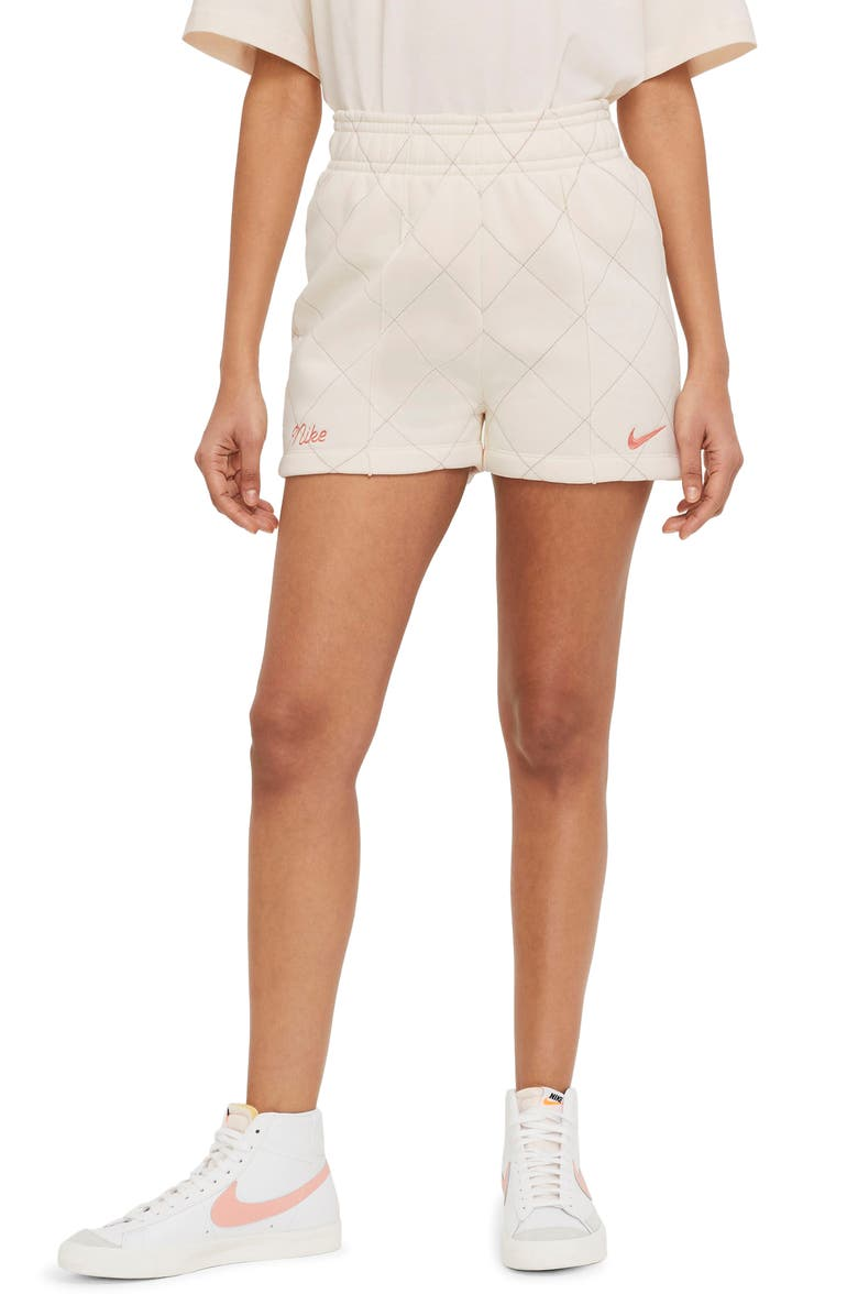 NIKE Sportswear Quilted Fleece Shorts, Main, color, PALE IVORY/ BLACK/ APRICOT AG