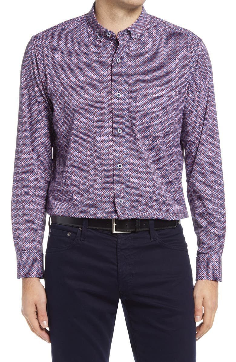 JOHNSTON & MURPHY XC4 Performance Button-Down Shirt, Main, color, NAVY/ RED TRIANGLE PRINT