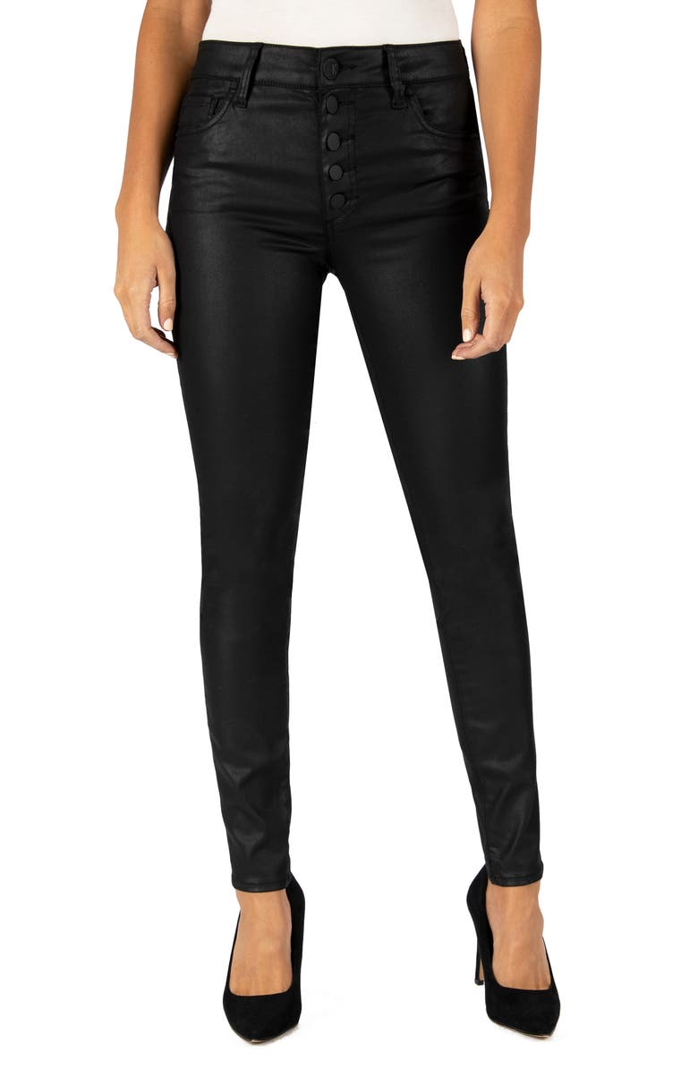 KUT FROM THE KLOTH Mia High Waist Coated Skinny Jeans, Main, color, BLACK