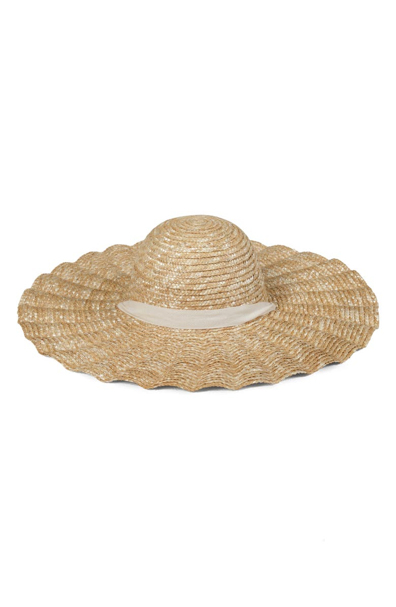 LACK OF COLOR Scalloped Dolce Straw Hat, Main, color, 250