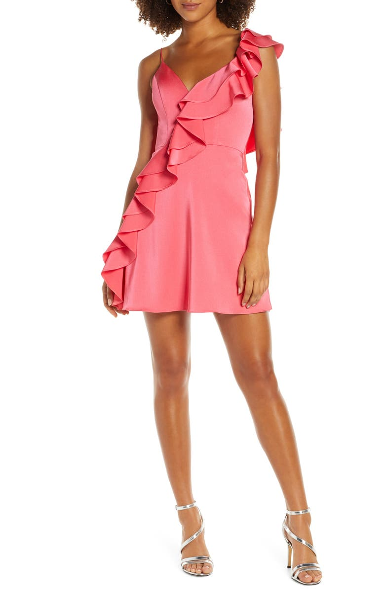 MAC DUGGAL One-Side Ruffle Party Dress, Main, color, Pink