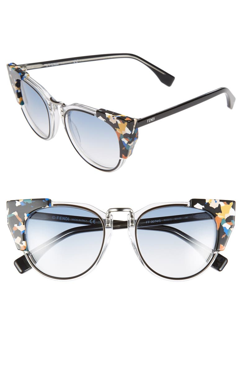 FENDI 'Fashion Show' 50mm Sunglasses, Main, color, 001