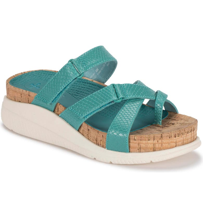 BARETRAPS Selby Posture Plus Wedge Sandal, Main, color, TURQUOISE SNAKE