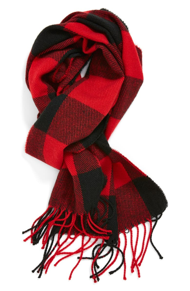 THE RAIL Red Check Knit Scarf, Main, color, 600