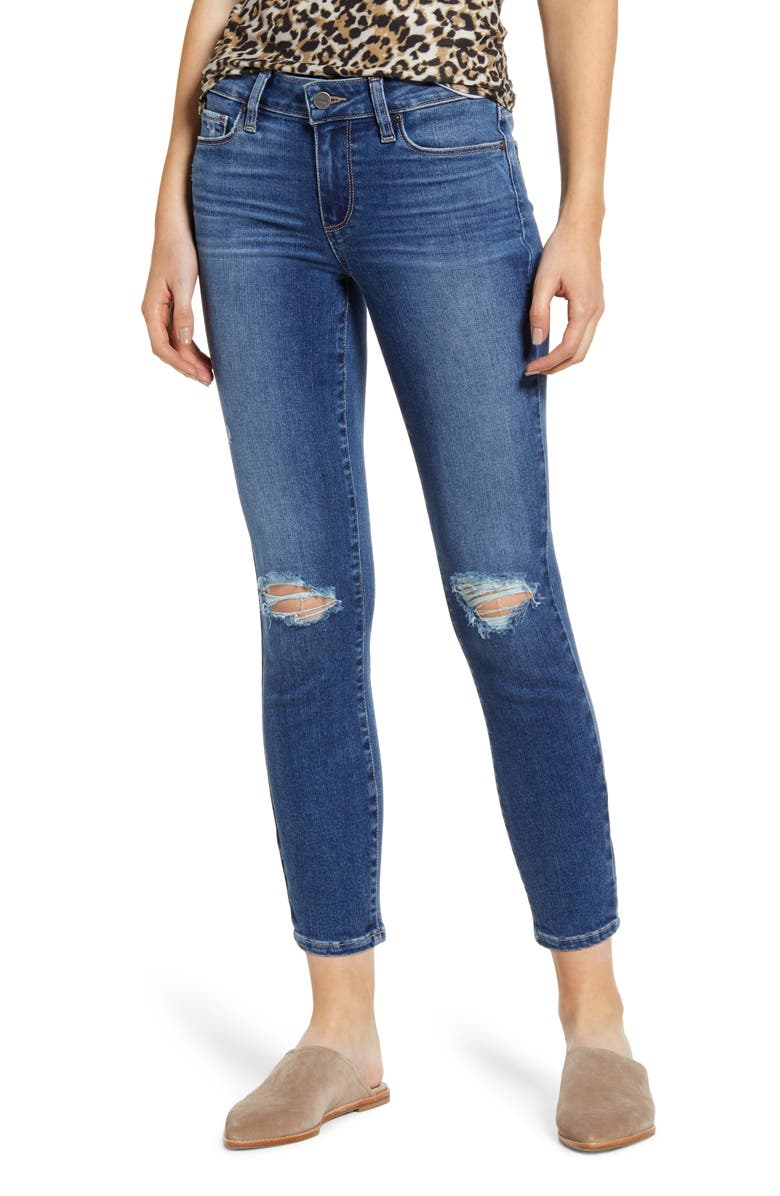 PAIGE Verdugo Ripped Crop Skinny Jeans, Main, color, 400