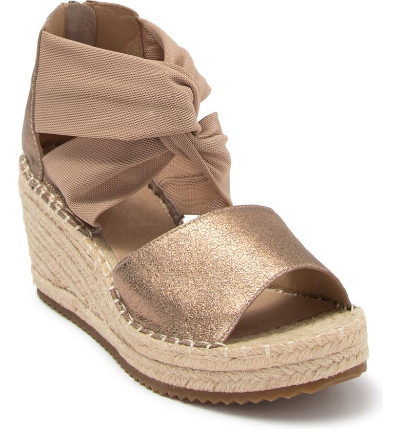 EILEEN FISHER Wiley Knot Espadrille Leather Wedge Sandal, Main, color, LIGHT GOLD