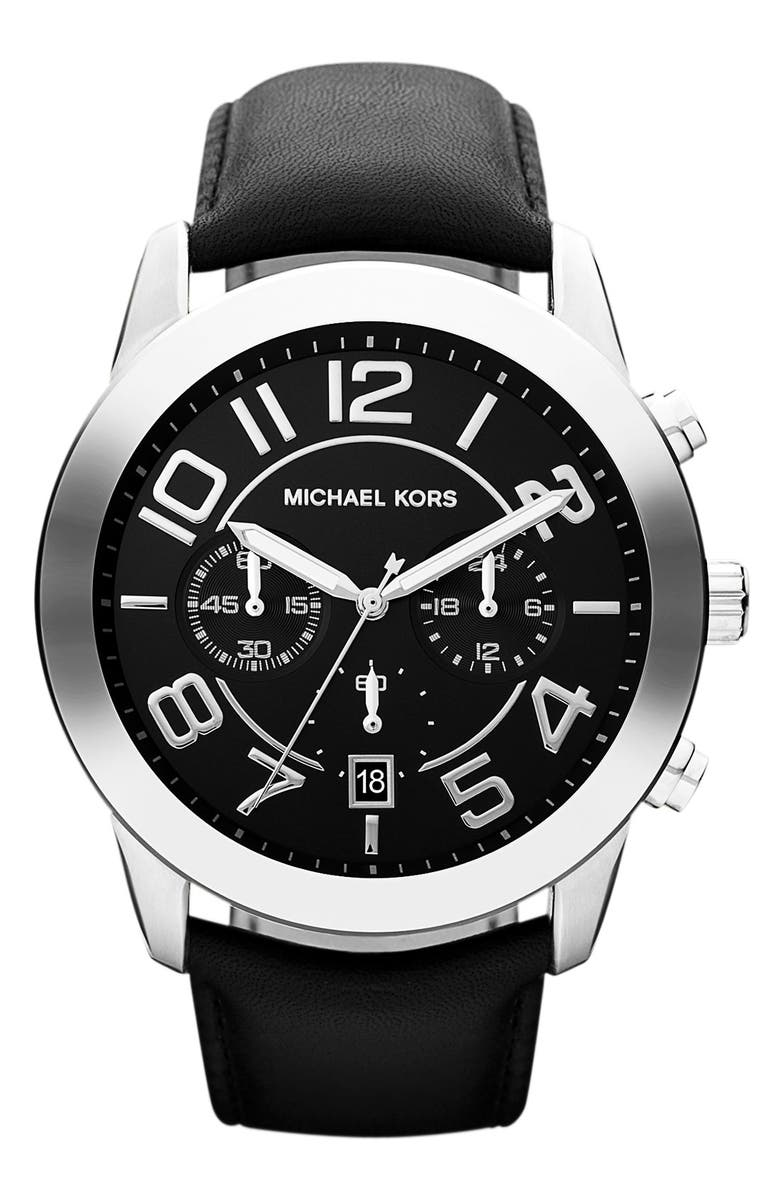 MICHAEL MICHAEL KORS Michael Kors 'Mercer' Large Chronograph Leather Strap Watch, 45mm, Main, color, 001