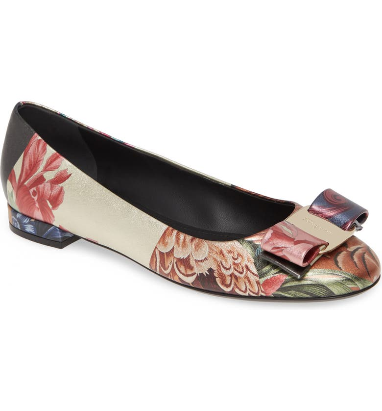 SALVATORE FERRAGAMO Varina Floral & Feather Print Ballet Flat, Main, color, 400