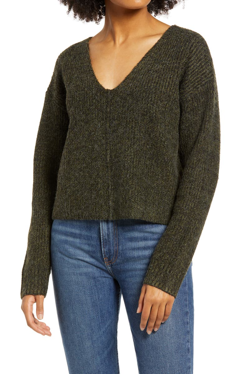 BP. Weekend V-Neck Sweater, Main, color, OLIVE NIGHT MARL