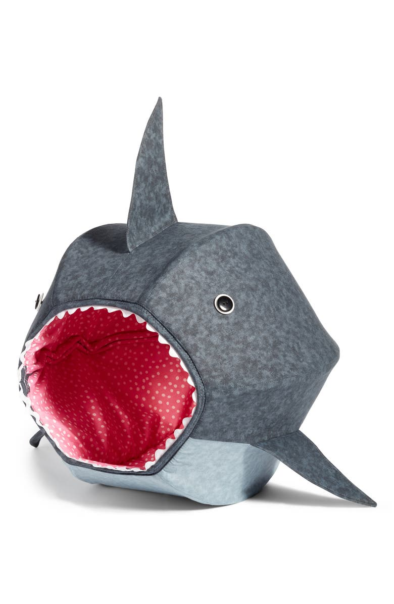 CAT BALL Great White Shark Cat Bed, Main, color, Grey
