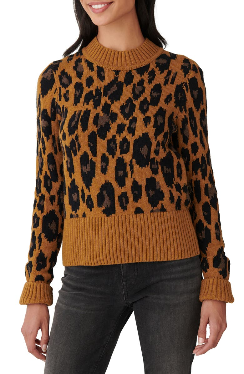LUCKY BRAND Leopard Intarsia Sweater, Main, color, CAMEL HEATHER