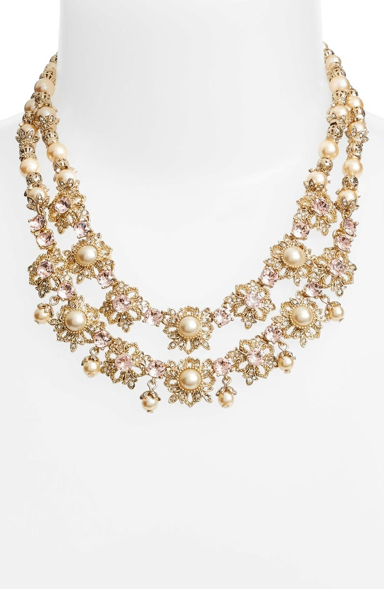 MARCHESA Two Row Collar Necklace, Main, color, BLUSH/ GOLD