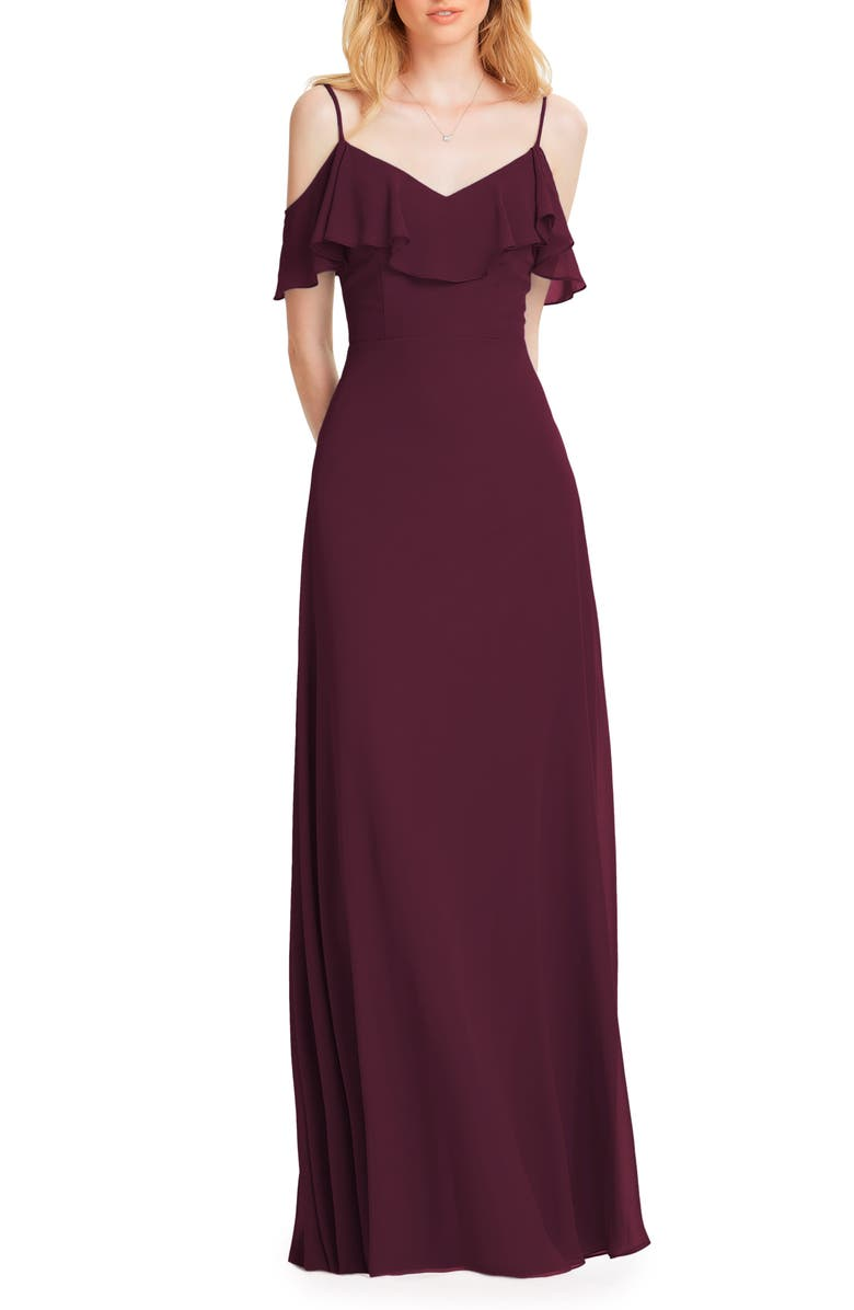 #LEVKOFF Ruffle Shoulder Chiffon Gown, Main, color, WINE