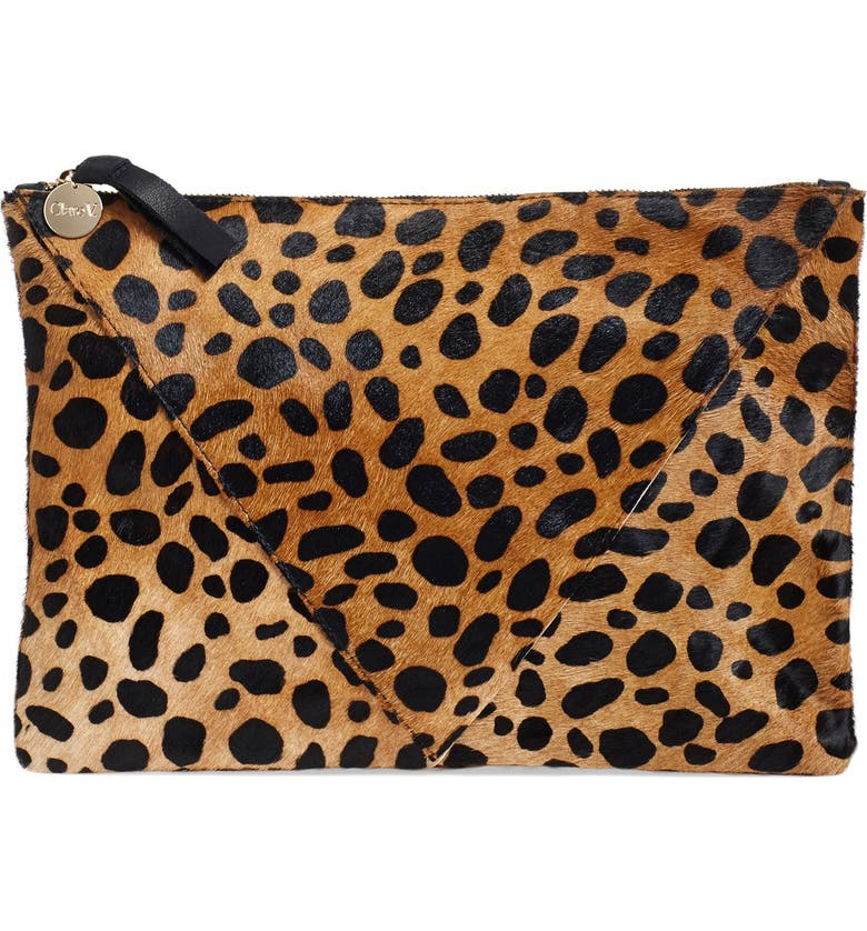 CLARE V. Cheetah Print Genuine Calf Hair Clutch, Main, color, 200