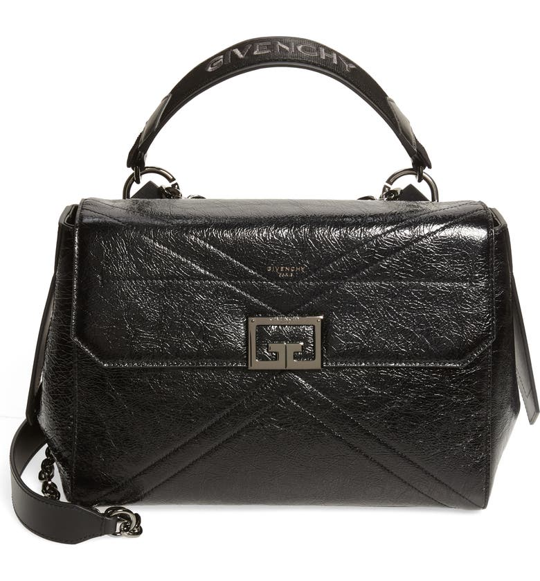 GIVENCHY Shiny Creased Leather Satchel, Main, color, BLACK