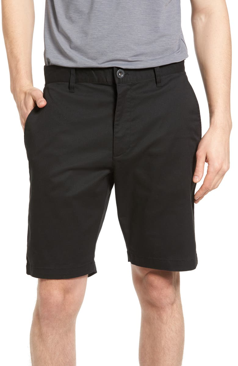 RVCA The Week-End Stretch Twill Chino Shorts, Main, color, BLACK