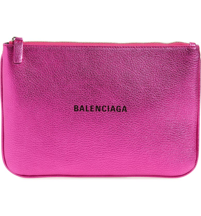 BALENCIAGA Everyday Leather Pouch, Main, color, 650