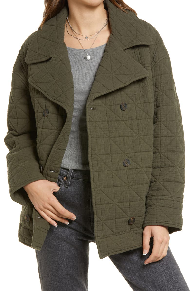 TREASURE & BOND Double Breasted Diamond Quilted Cotton Jacket, Main, color, OLIVE SARMA