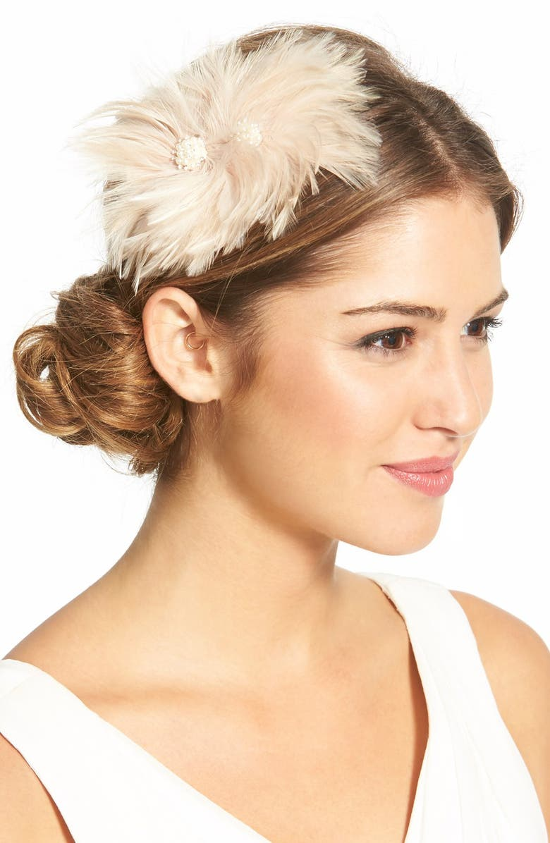 VEIL TRENDS J-Picone Feather Fascinator, Main, color, BLUSH