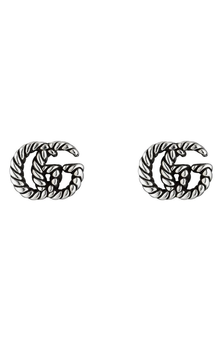 GUCCI GG Silver Stud Earrings, Main, color, SILVER