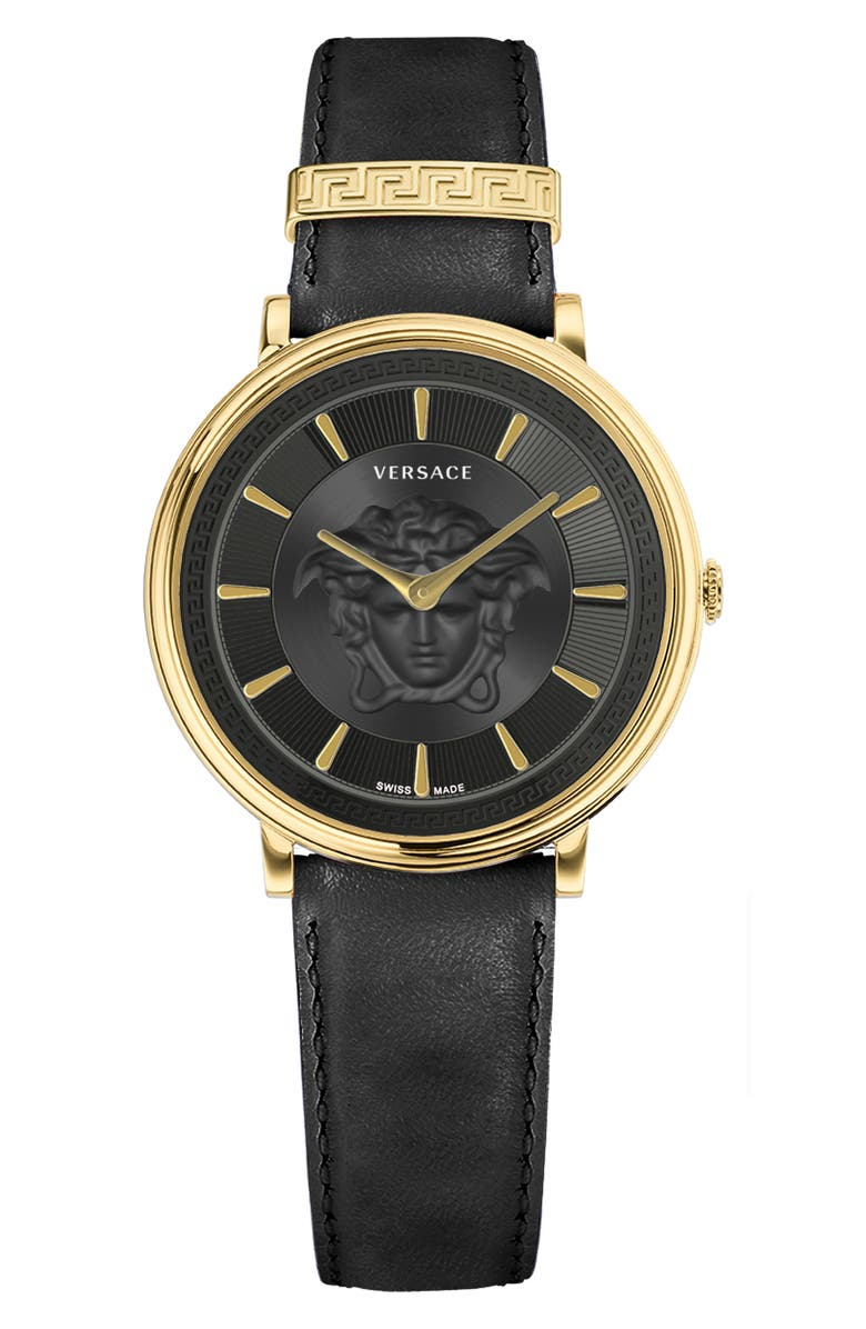 VERSACE Women's V-Circle Medusa Leather Strap Watch, 38mm, Main, color, GOLD
