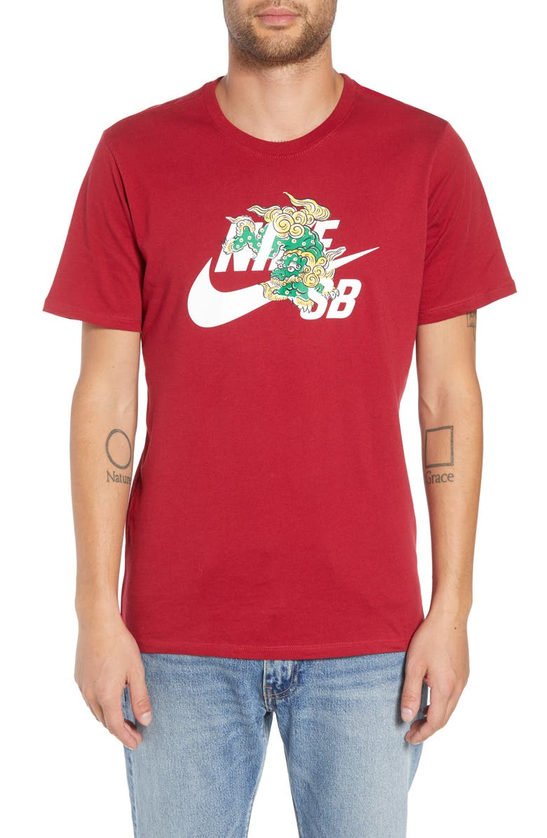 NIKE SB Year of the Dog T-Shirt, Main, color, RED CRUSH