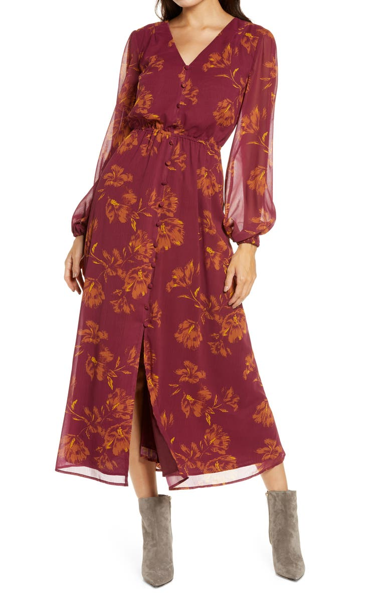 CHELSEA28 Button Long Sleeve Midi Dress, Main, color, RED COUTURE BLOSSOM