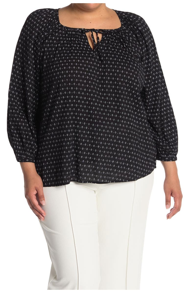 SUSINA Patterned Boatneck Blouse, Main, color, BLACK- WHITE MARTY GEO