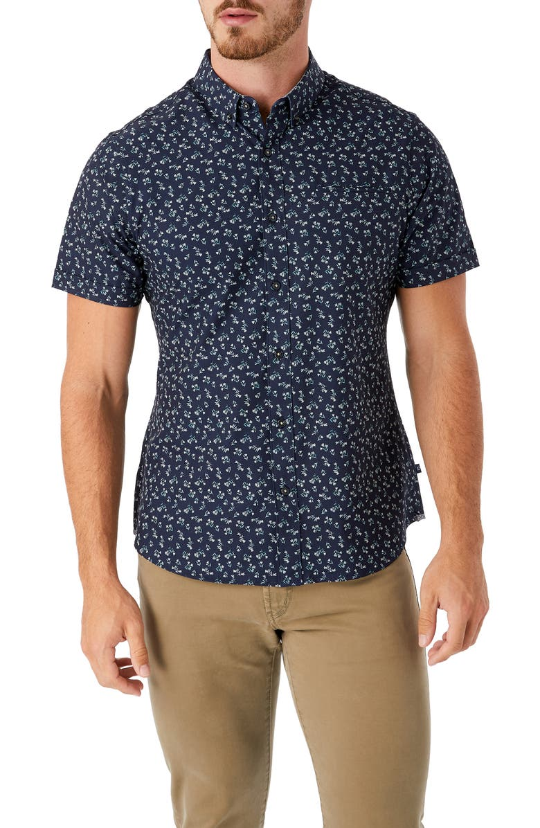 7 DIAMONDS Intention Floral Short Sleeve Performance Button-Down Shirt, Main, color, MIDNIGHT