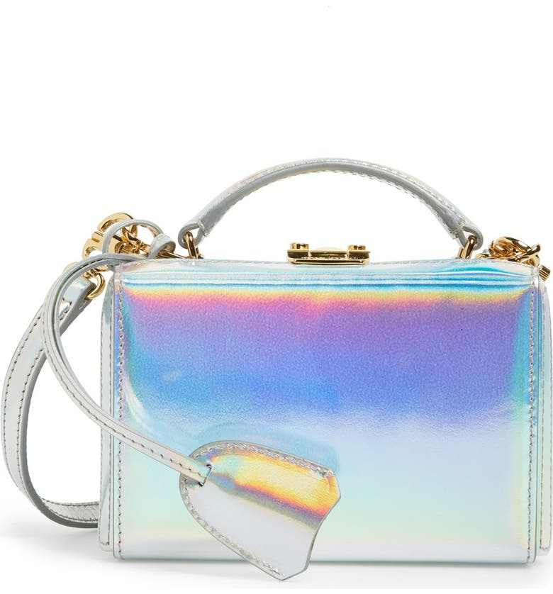 MARK CROSS 'Mini Grace' Holographic Leather Box Clutch, Main, color, SILVER HOLOGRAPHIC