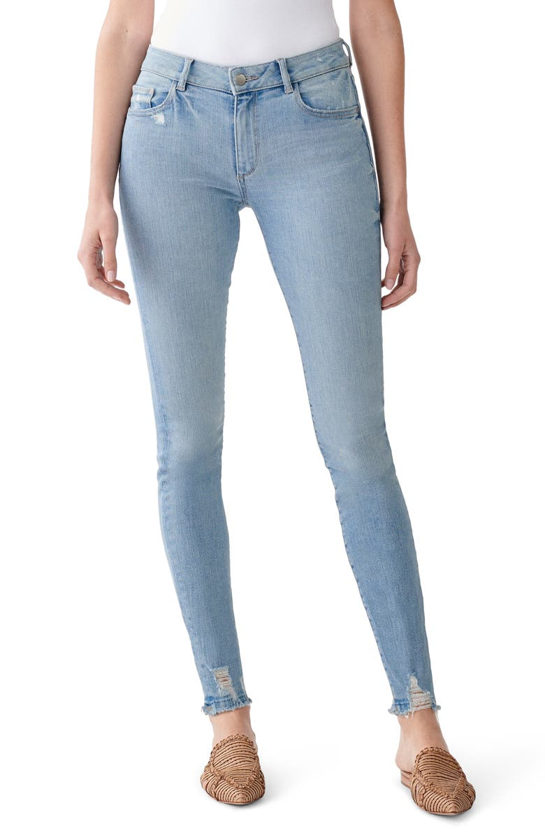 DL 1961 Florence 30 Mid Rise Skinny Jeans, Main, color, DUPONT