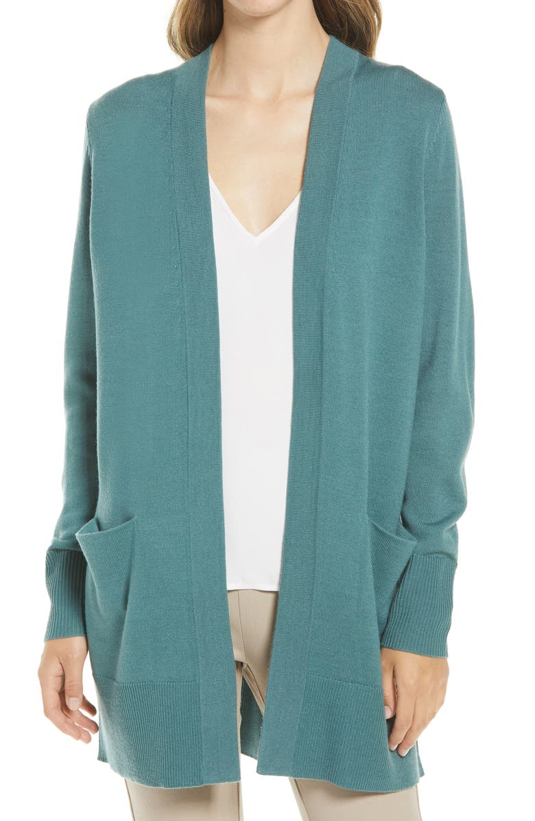 NORDSTROM Everyday Open Front Cardigan, Main, color, TEAL TITANIC