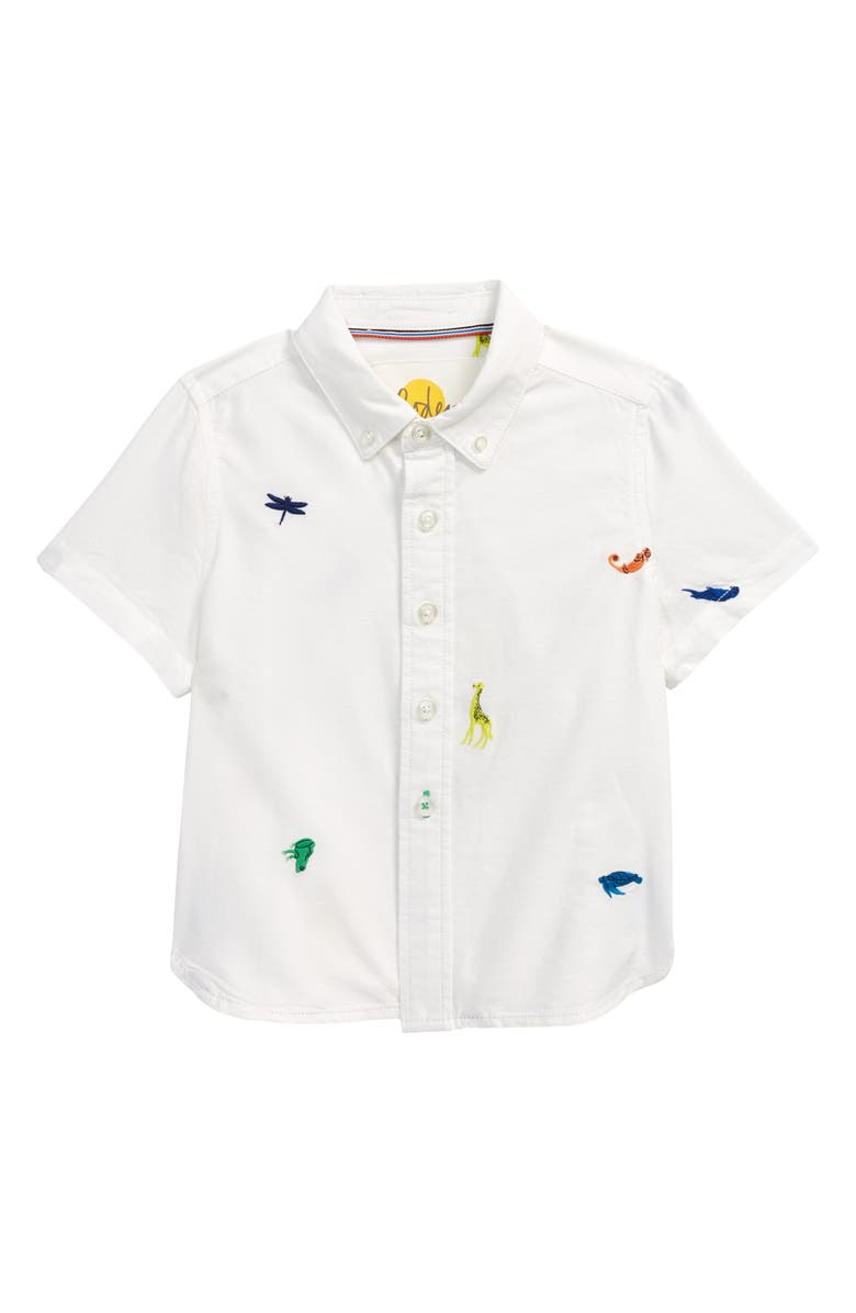 MINI BODEN Kids' Embroidered Animal Short Sleeve Button-Down Shirt, Main, color, IVORY RAINBOW ANIMALS
