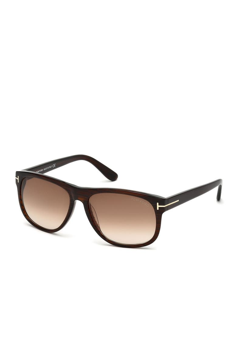 TOM FORD 58mm Square Sunglasses, Main, color, DBRNO/GRNG