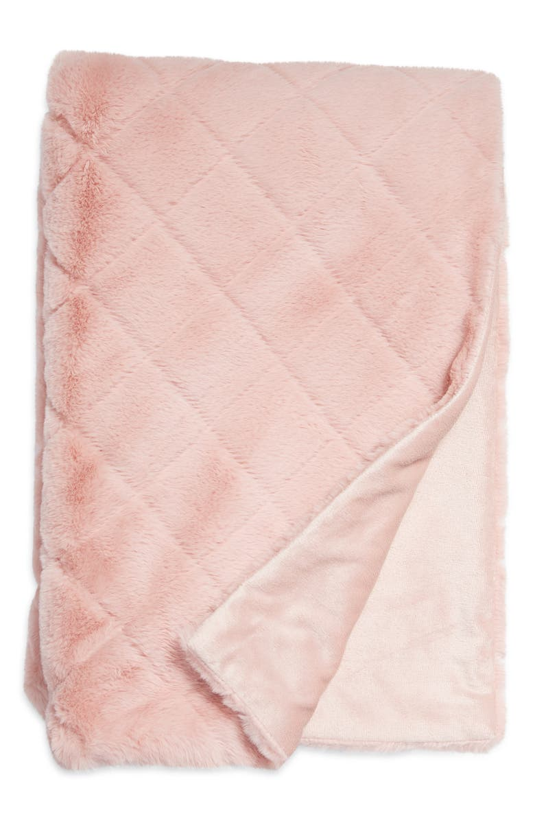 NORDSTROM Diamond Jacquard Faux Fur Throw, Main, color, PINK PUFF