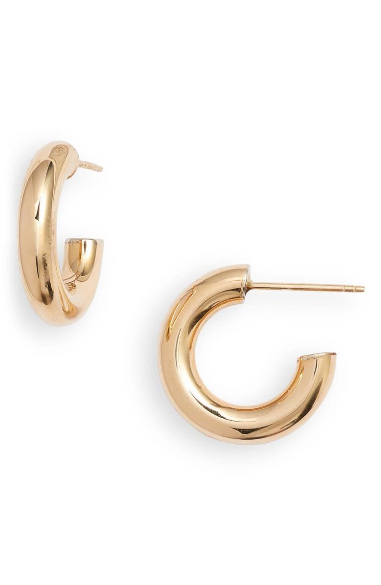 BONY LEVY 14K Gold Small Thick Hoop Earrings, Main, color, YELLOW GOLD