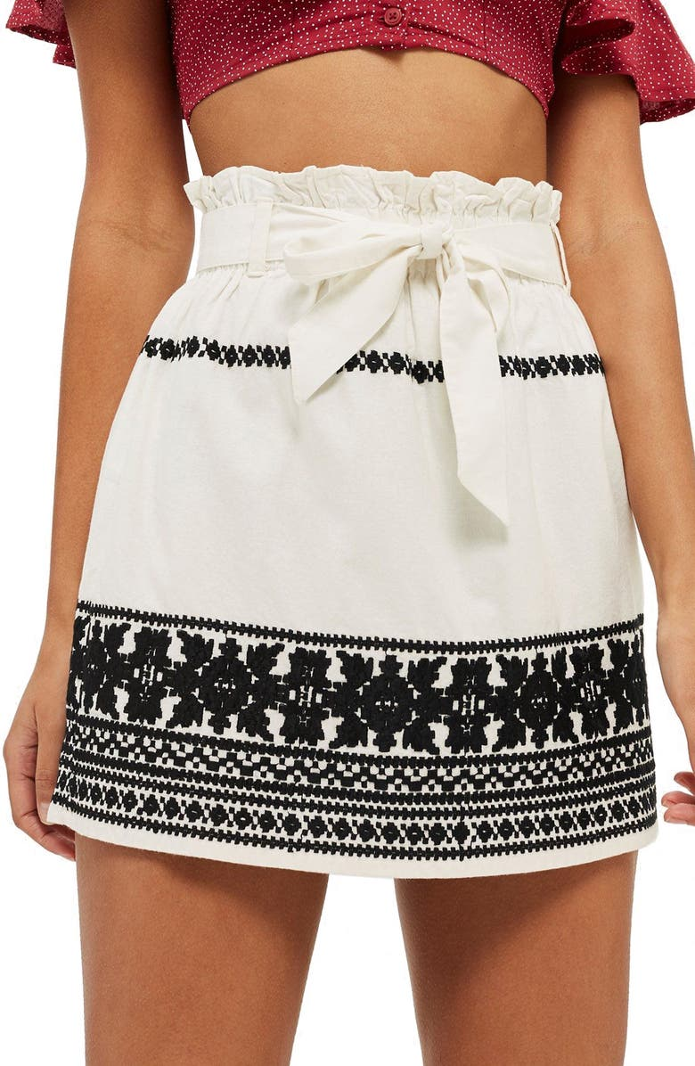 TOPSHOP Culture Embroidered Paperbag Skirt, Main, color, 900