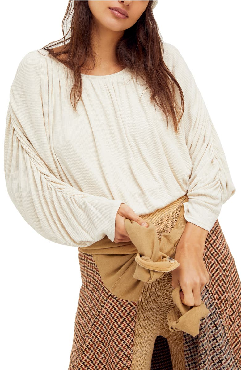 FREE PEOPLE You're the One Pleated Crop Top, Main, color, NATURAL