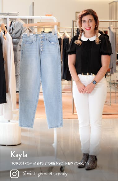 High Waist Button Fly Mom Jeans, sales video thumbnail