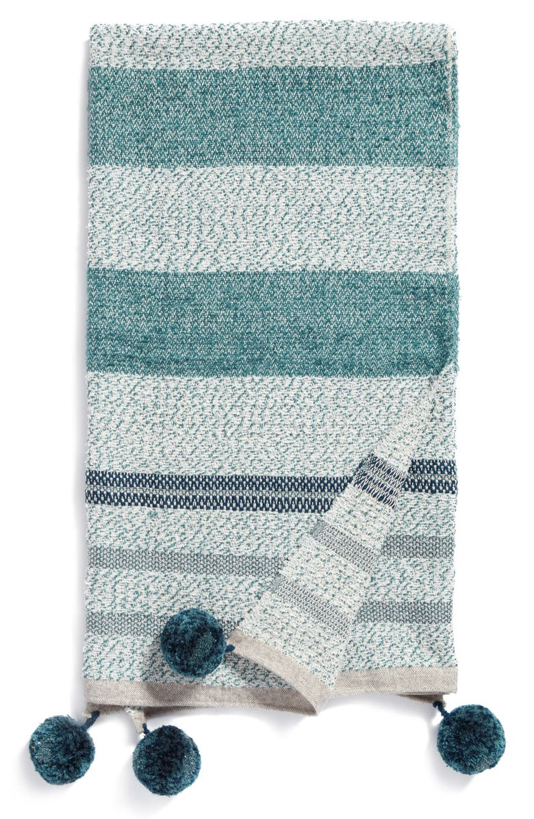 NORDSTROM at Home Stripe Throw, Main, color, TEAL TITANIC MULTI