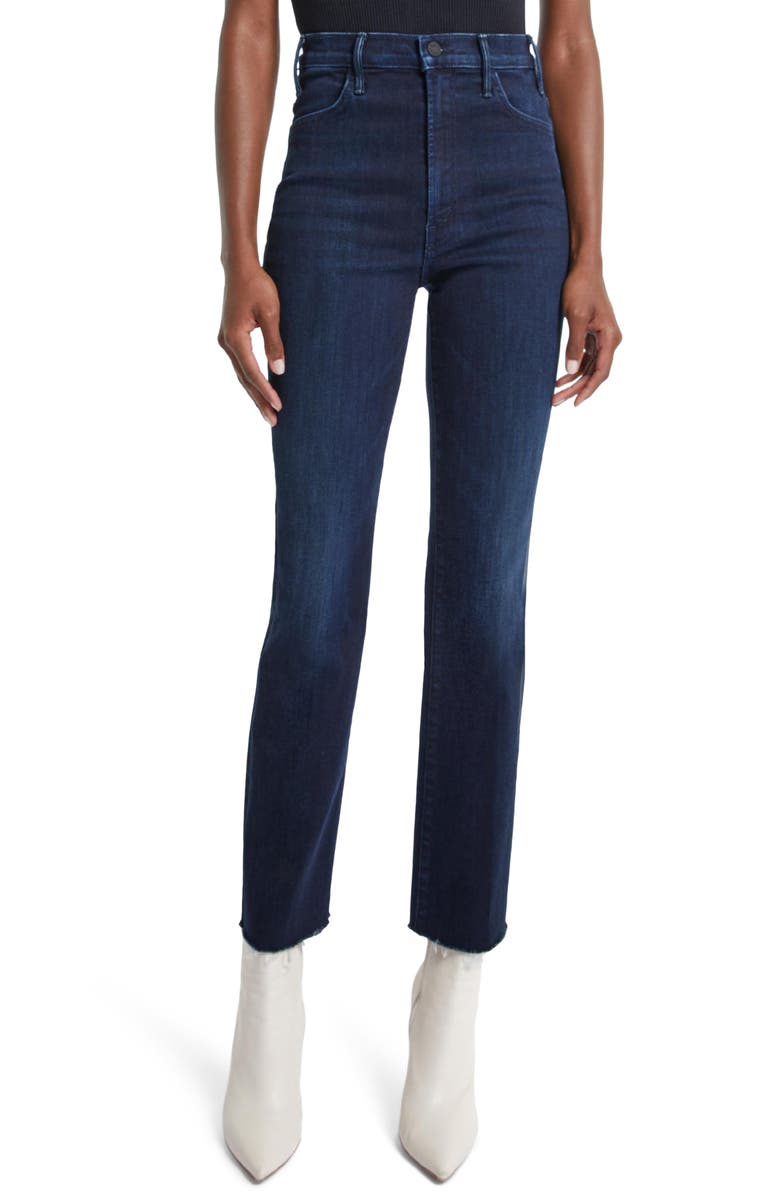 MOTHER The Hustler High Waist Frayed Ankle Flare Jeans, Main, color, HOWLING AT THE DISCO BALL