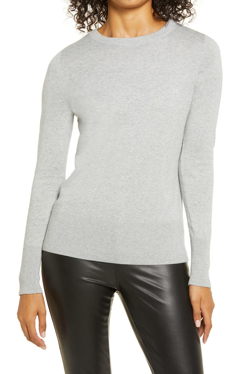 HALOGEN<SUP>®</SUP> Crewneck Sweater, Main, color, GREY HEATHER