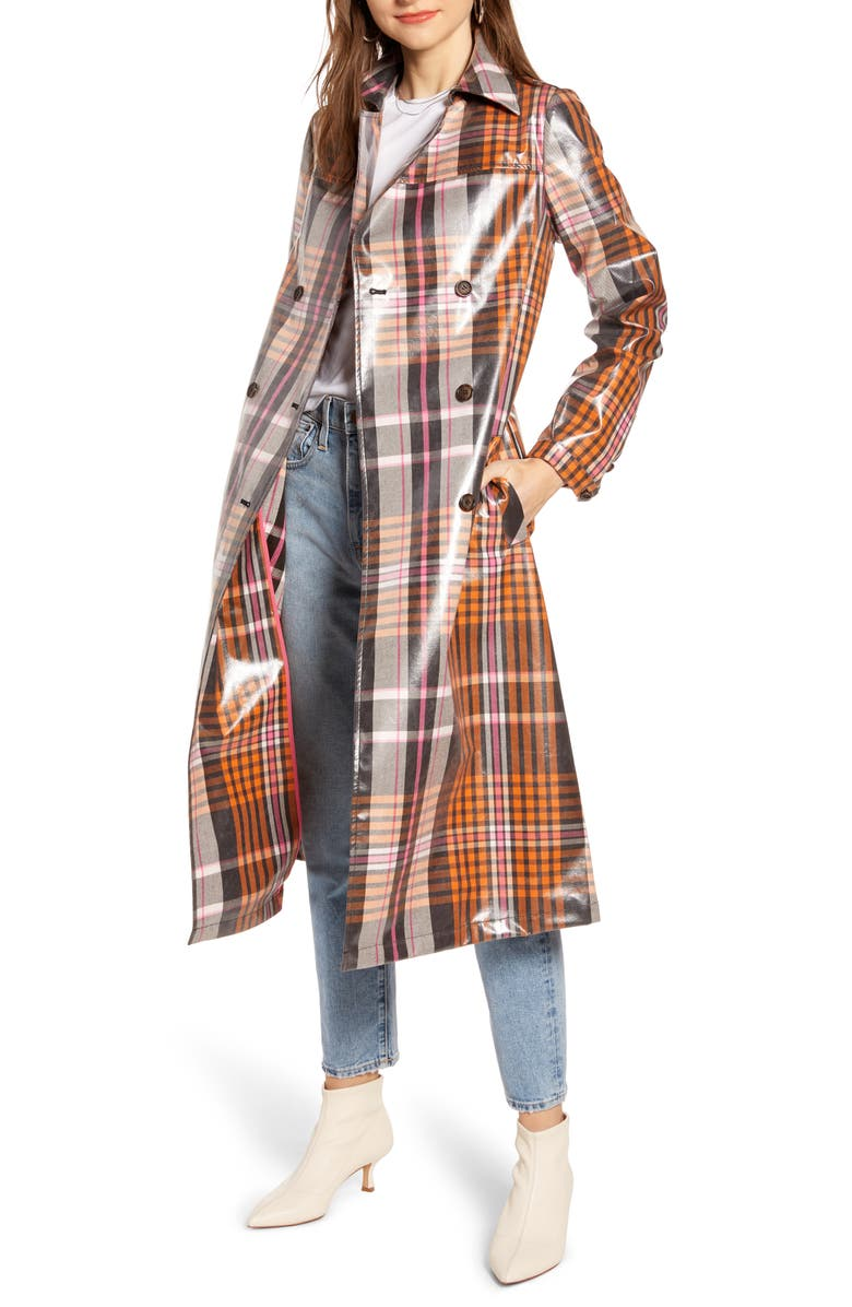 SOMETHING NAVY Water Resistant Plaid Glossy Trench Coat, Main, color, PINK BROWN TAYLOR PLAID