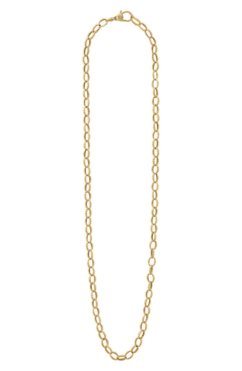LAGOS Caviar Gold Fluted Oval Link Necklace, Main, color, GOLD