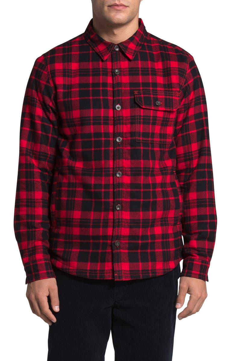 THE NORTH FACE Campshire Men's Shirt Jacket, Main, color, TNF RED HERITAGE MEDIUM PLAID