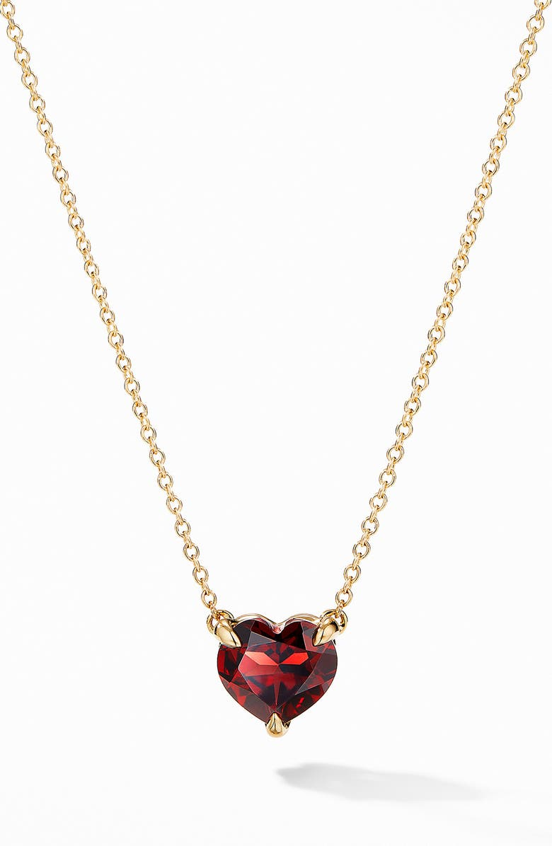 DAVID YURMAN Heart Pendant Necklace in 18K Yellow Gold with Garnet, Main, color, 600