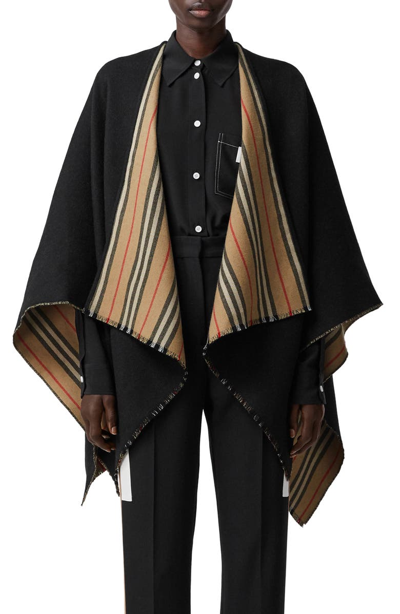 BURBERRY Icon Stripe Reversible Wool Cape, Main, color, 001