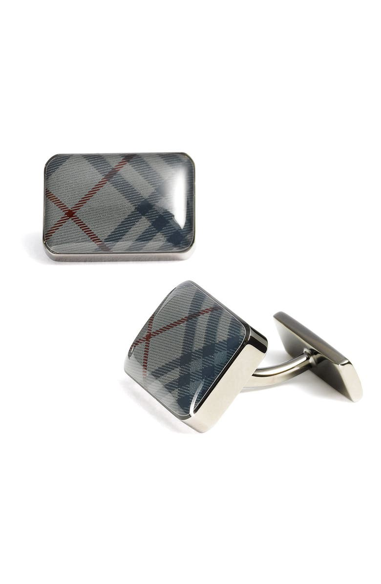 BURBERRY Rectangular Check Cuff Links, Main, color, BRIT CHECK