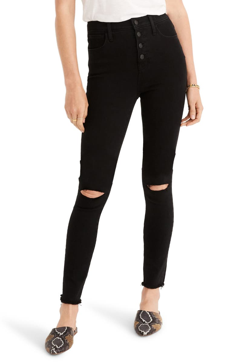MADEWELL 10-Inch High Waist Roadtripper Button Front Jeggings, Main, color, 009